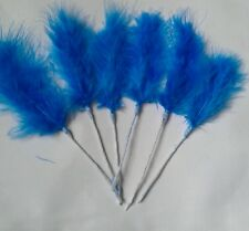 6 blue marabou feathers sprays on wire for decorating cakes,floral crafts