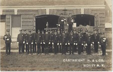 1910 Sydney, New York - REAL PHOTO Fire Department all in Uniform, Band, Music