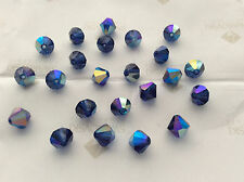 60 Swarovski #5301 6mm Crystal Dark Sapphire AB Faceted Bicone Beads