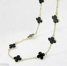 "Womens New Fashion Black 35"" 4 Four Leaf Clover Long Chain Bubble Bib Necklace"