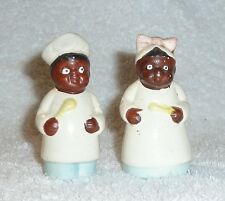 Vintage Black Americana Mammy Cooks Pink Blue Salt and Pepper Shakers JAPAN