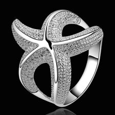 925 Sterling Silver Starfish Plain Band Ring Size 8 B8