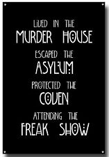 AMERICAN HORROR STORY METAL SIGN,NORMAL PEOPLE SCARE ME,COVEN,FREAKSHOW,ASYLUM