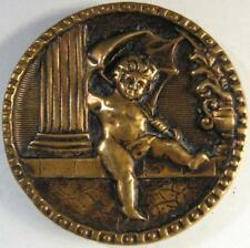 Antique Greek Mythology Cherub with Umbrella LG Picture Pictorial Brass Button