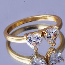 Vogue Womens Love gold filled 2 Heart Crystal Band Ring Size 8