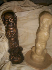 Speak see hear no evil skull large rubber latex mould mold ornament figurine
