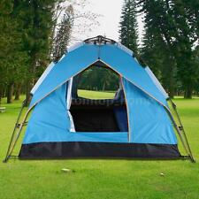 Instant Automatic Pop Up Backpacking Camping Hiking 3-4Persons Tent Blue HotSale