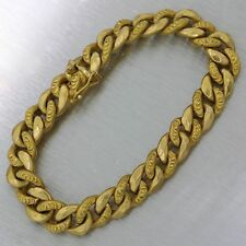 "1860s Antique Victorian 18k Yellow Gold 7.25"" Cuban 9mm Chain Bracelet 11.9g"