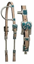 Light Leather Western Show Bridle Teal Color Bling Includes Reins New Tack