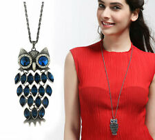 Austria Crystal Stone Blue Owl Antique Silver Plated Long Chain Necklace Pendant