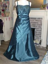 TIFFANY teal bling dress Sz 16, evening gown, prom, wedding, beaded, ball gown