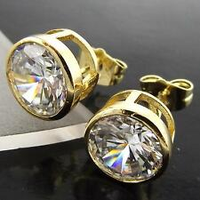 A043 GENUINE 18K YELLOW G/F GOLD SOLID 1 CARAT DIAMOND SIMULATED STUD EARRINGS