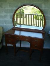 Large Antique Silky oak 5 Draw Dressing table Large  framed mirror brass handles