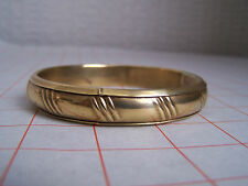 Brass Bangle with Triple Stripe Pattern (Hand Made, Vintage)