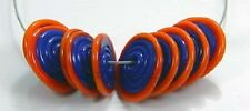ROA Lampwork 10 Blue & Orange Tip Disc Glass Beads SRA