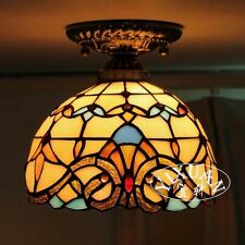 Tiffany Style Ceiling Lamp E27 Light Stained Glass Bedroom Baroque Flushmount