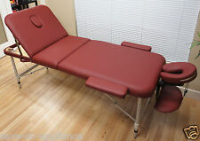 "Burgundy Red Aluminum 84"" 3-Section Portable Massage Table Facial SPA Bed Tattoo"