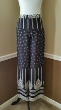 Moon $59 Wide Leg Palazzo Pants Black Ivory S Modcloth Flowing Boho Chic Retro