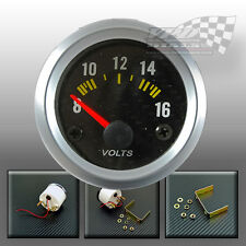 VOLT GAUGE CARBON FACE SILVER BEZEL DASH 52 mm 2""