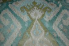 AQUA GREEN WHITE IKAT UPHOLSTERY FABRIC 2.5 YDS