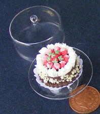 1:12 Cake (NC17) In A Glass Cake Stand Dolls House Miniature Accessory G20XL
