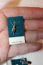 VINTAGE STERLING SILVER NEVER USED STILL ON CARD CHARM CHEERLEADER