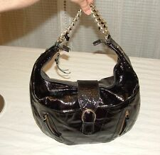 100% Authentic Marco Buggiani Black Patent Italian Leather Handbag Purse