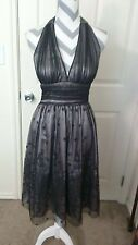 Adrianna Papell Boutique Black Beaded formal Halter dress womans size 4