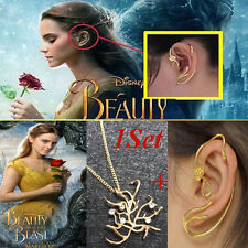 1Set Beauty and the Beast Tree Belle Necklace Pendant&Gold Plated Rose Earrings!