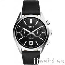 New Fossil Men Del Rey Chronograph Black Leather Dress Watch 44mm CH2972 $155