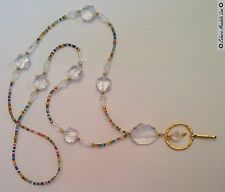 GOLD Clear & Colorful ID Badge Holder HANDMADE Beaded Lanyard Fashion Necklace