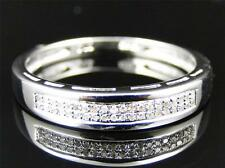 Ladies White Gold Finish 2 Row Round Diamond Wedding Engagement Band Ring