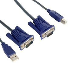 1.5M USB 2.0 PC Monitor 15-Pin Standard VGA SVGA Adapter Cable For KVM Switch