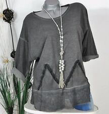 NEU VINTAGE LOOK SWEAT SHIRT BLUSE APPLIKATION WASHED GRAU 38 40 42