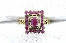 10Kt REAL Yellow Gold Oval Round Ruby Gemstone Stone Ladies Ring Size 6.25
