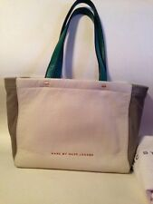 MARC JACOBS What's The T Colorblock Ivory Gray Green Leather Shoulder Tote Mini