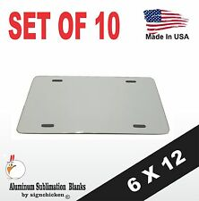 """10 Pieces ALUMINUM LICENSE PLATE SUBLIMATION BLANKS 6""""x12"""" / NEW BEST QUALITY"""