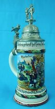 German Germany WW1 WWI Lid Lidded Beer Stein Military Musketeers Motif Mug Cup