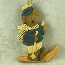 Boyds Carvers Choice Wood Folk Art Skier Bear Christmas Ornament Jill Stausbaugh