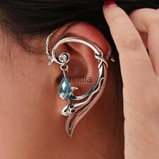 Gothic Punk Serpent Coil Ear Cuff Wrap Long Curve Earring Jewelry