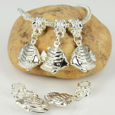 Fashion 5PCS Silver Plated Dangle Fish Charms Loose Beads Fit European Bracelet