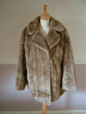 Vintage 70s light brown faux fur long jacket, XL