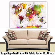 """Poster World Map Large Huge Giant Wall Print Silk Fabric Decor 46""""x32"""" Inch T04"""