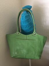 COACH BLEEKER GREEN LEATHER TOTE SATCHEL SHOULDER CARRYALL HANDBAG F14383
