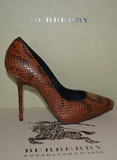NIB BURBERRY POINT TOE PYTHON PLATFORM PUMPS SHOES EU 38 US 8 MADE IN ITALY