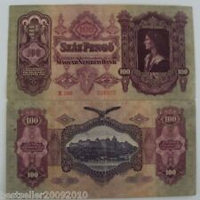 HUNGARY 100 PENGO RARE OLD BIG SIZE BANK NOTE # 375