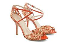 LK Bennett 8 Coral Macrame Sandals Stiletto Heels Shoes 41 Wedding Holiday Party