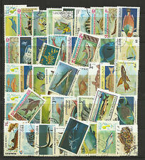 FISH MARINE LIFE Collection Packet 50 Different WORLD Stamps