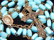 Antique Vintage Petite Blue Glass Brass Medallion & Crucifix Art Deco ROSARY