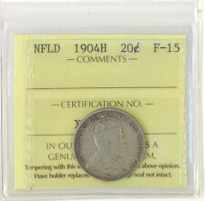 Canada Newfoundland 1904H 20 Cents ICCS Certified F-15 King Edward VII